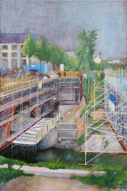 Brückenbaustelle in  der Karl Heine Str. (Stadtansichten, Leipzig)