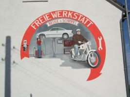 Hausgiebel in Borsdorf (Wandmalerei)