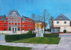 Rathaus Borsdorf (Acryl auf Leinwand)