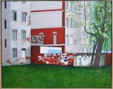Hinterhof in Leipzig (Acryl auf Leinwand)