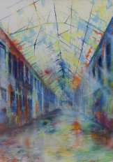 Die Halle - Expression (Pastell / Aquarell)